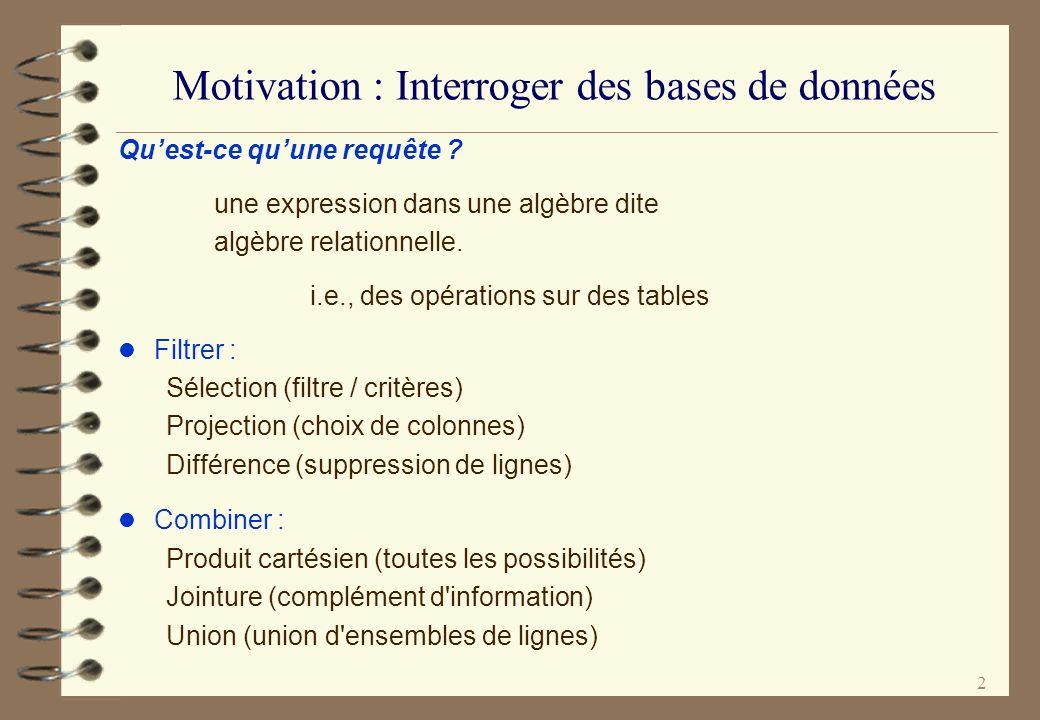 Motivation : Interroger des bases de données