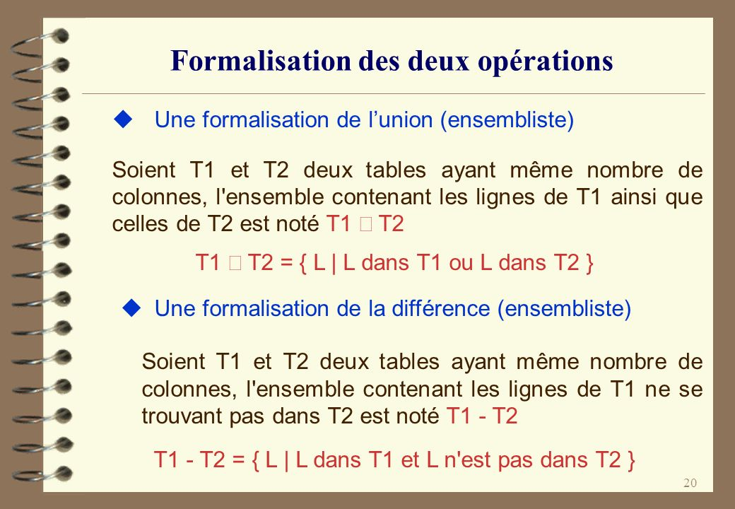 Formalisation des deux opérations