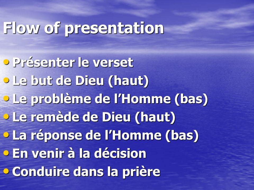 Flow of presentation Présenter le verset Le but de Dieu (haut)