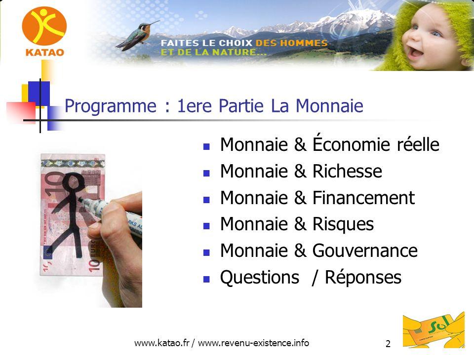 Programme : 1ere Partie La Monnaie