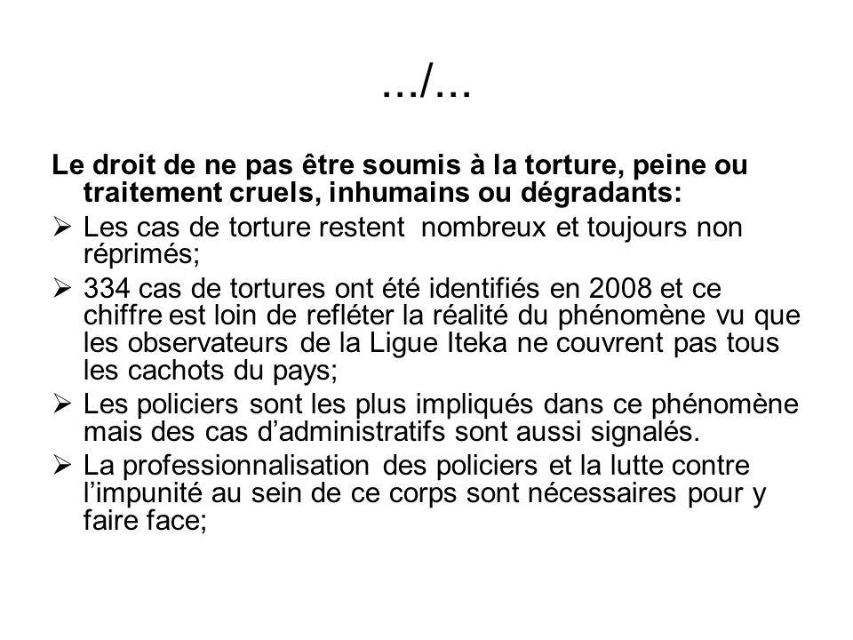 .../... Le droit de ne pas être soumis à la torture, peine ou traitement cruels, inhumains ou dégradants: