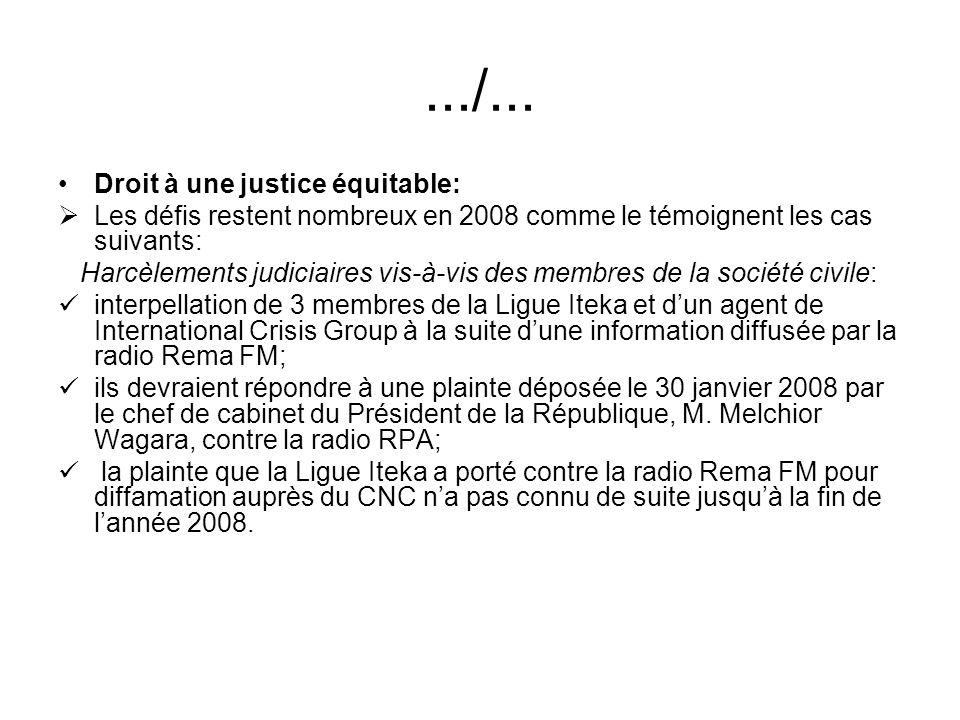 .../... Droit à une justice équitable: