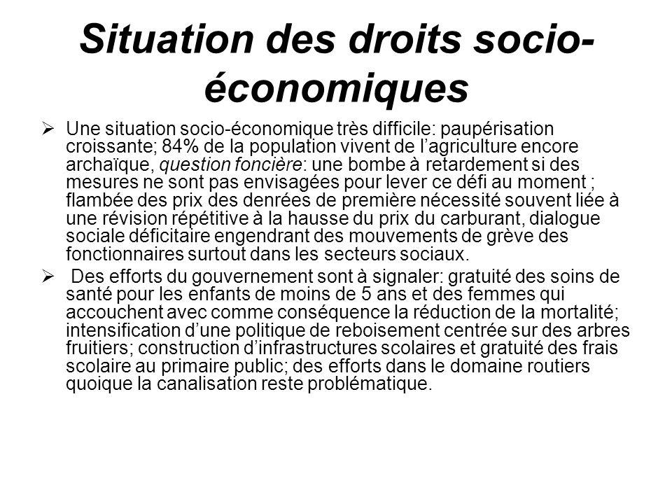 Situation des droits socio- économiques