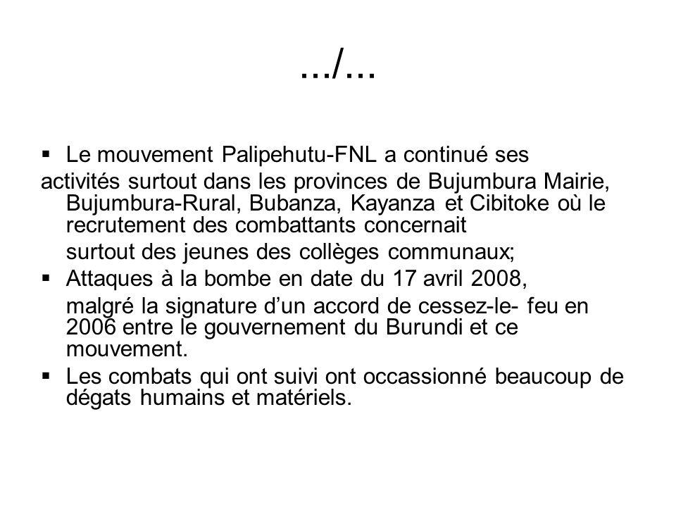 .../... Le mouvement Palipehutu-FNL a continué ses