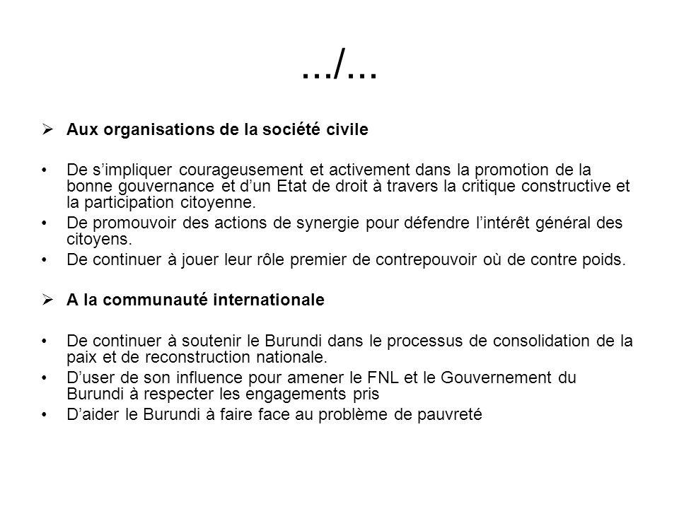 .../... Aux organisations de la société civile