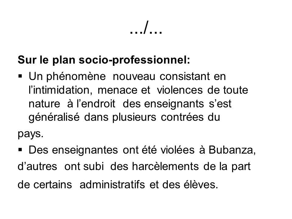 .../... Sur le plan socio-professionnel: