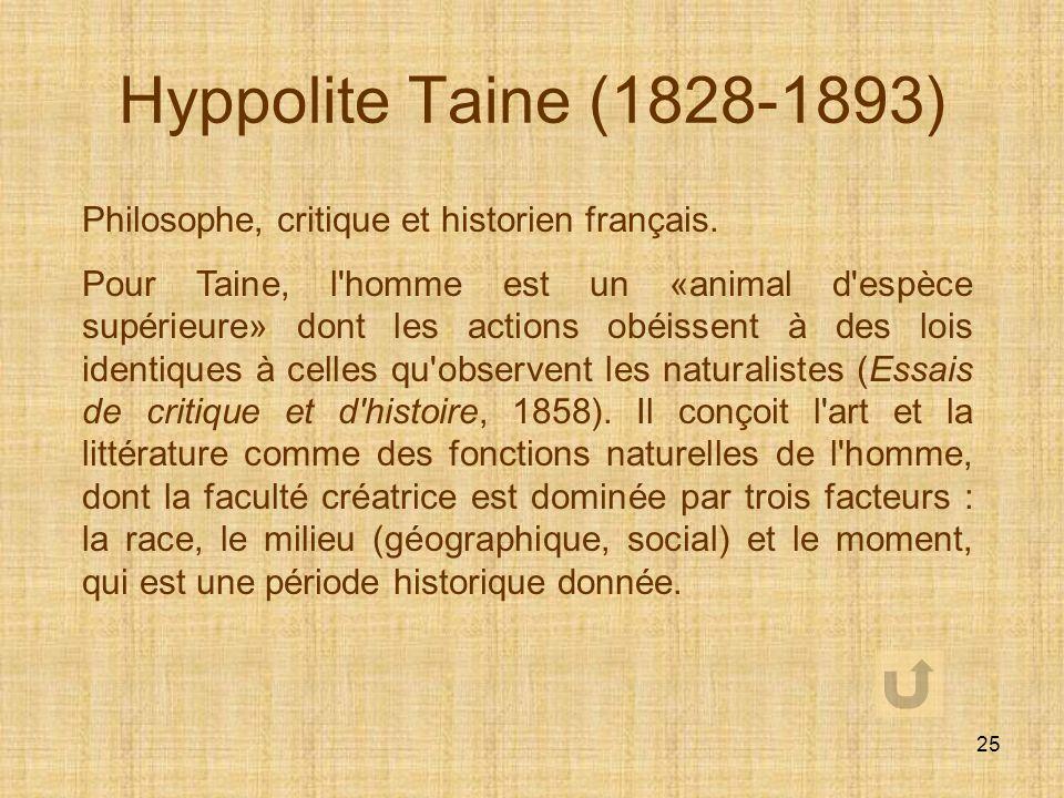 Hyppolite Taine (1828-1893) Philosophe, critique et historien français.