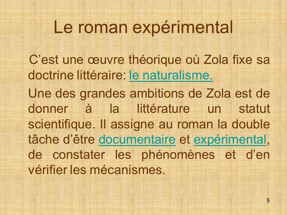 Le roman expérimental C'est une œuvre théorique où Zola fixe sa doctrine littéraire: le naturalisme.