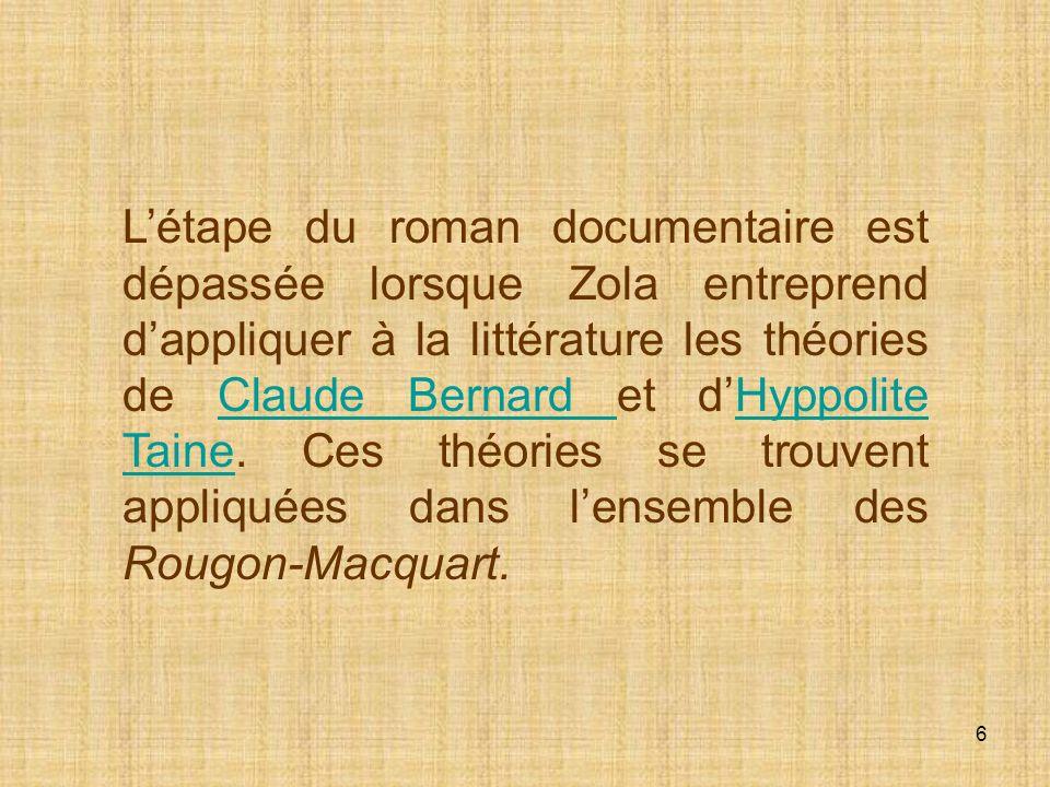 L'étape du roman documentaire est dépassée lorsque Zola entreprend d'appliquer à la littérature les théories de Claude Bernard et d'Hyppolite Taine.