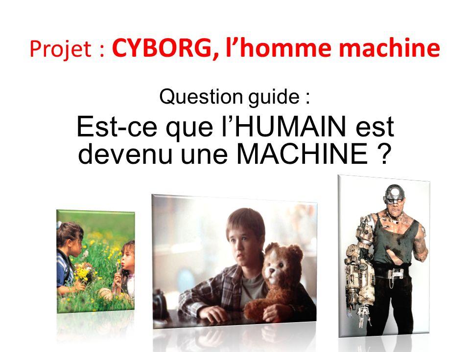 Question guide : Est-ce que l'HUMAIN est devenu une MACHINE