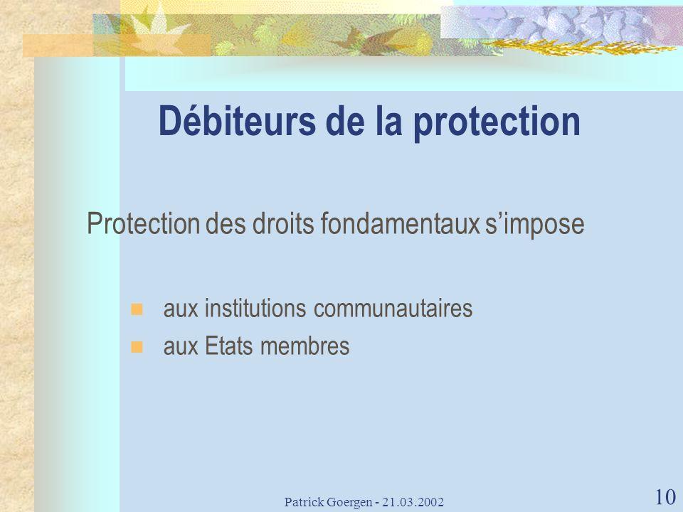 Débiteurs de la protection