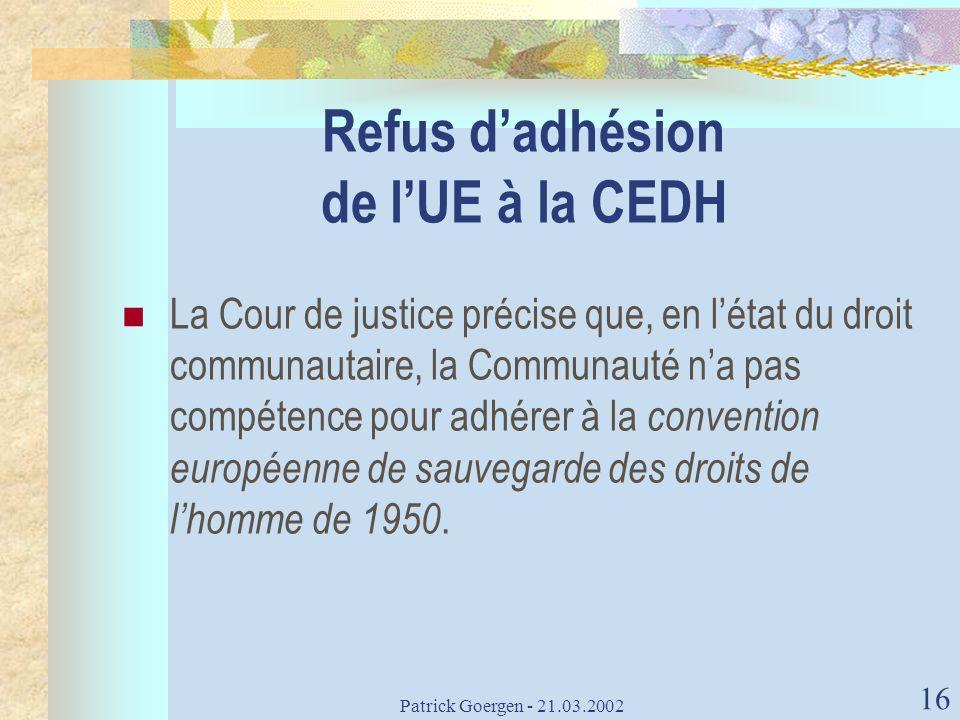 Refus d'adhésion de l'UE à la CEDH