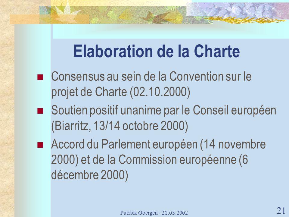 Elaboration de la Charte
