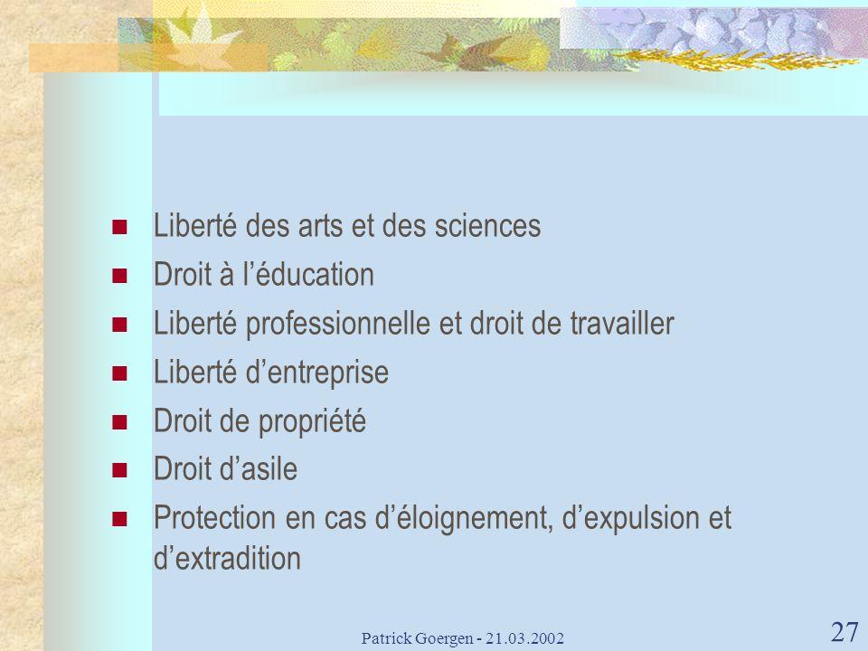 Liberté des arts et des sciences Droit à l'éducation