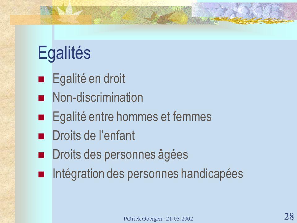 Egalités Egalité en droit Non-discrimination