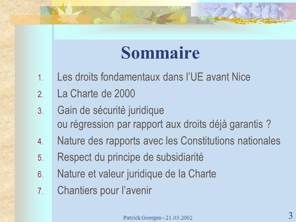 Sommaire Les droits fondamentaux dans l'UE avant Nice