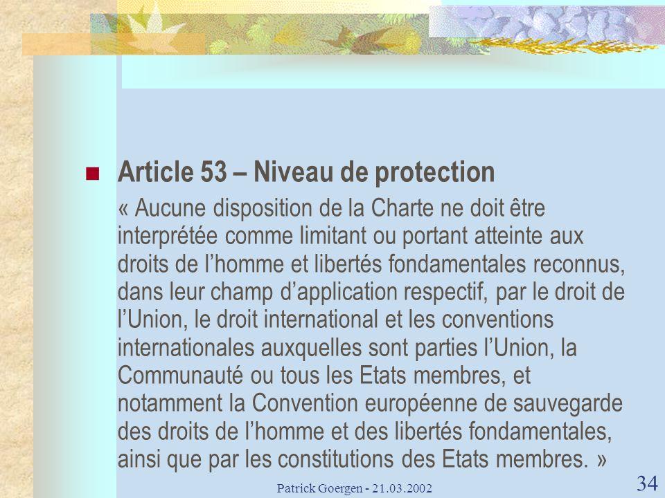 Article 53 – Niveau de protection