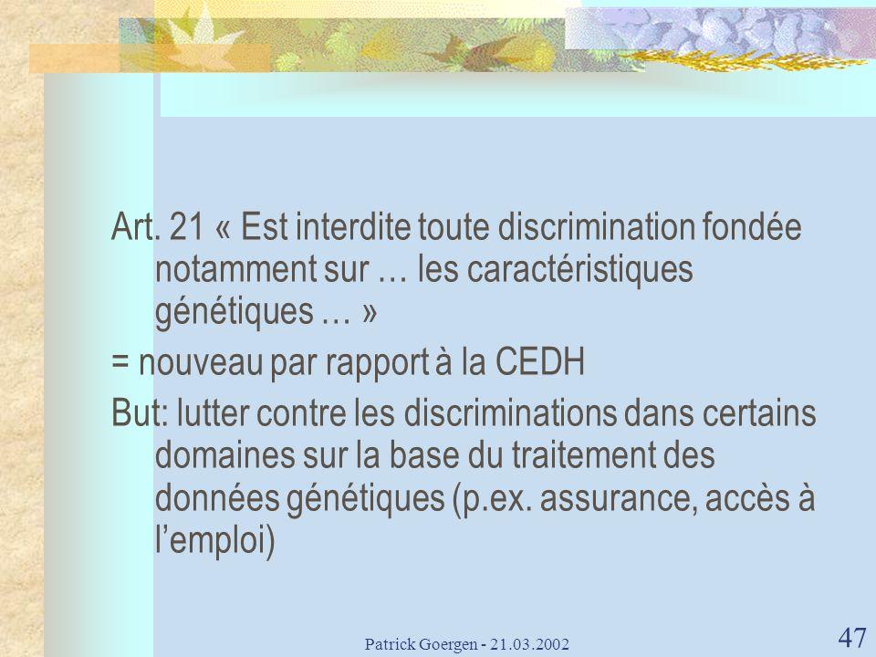 = nouveau par rapport à la CEDH