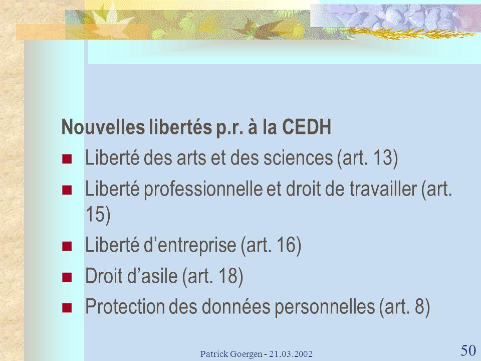 Nouvelles libertés p.r. à la CEDH