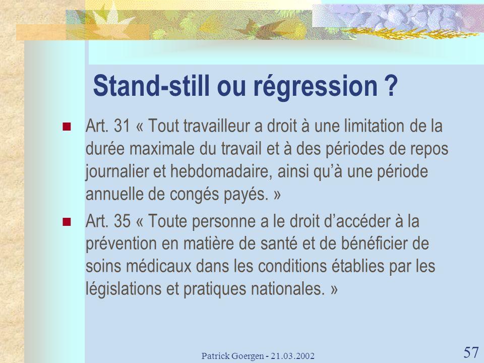 Stand-still ou régression