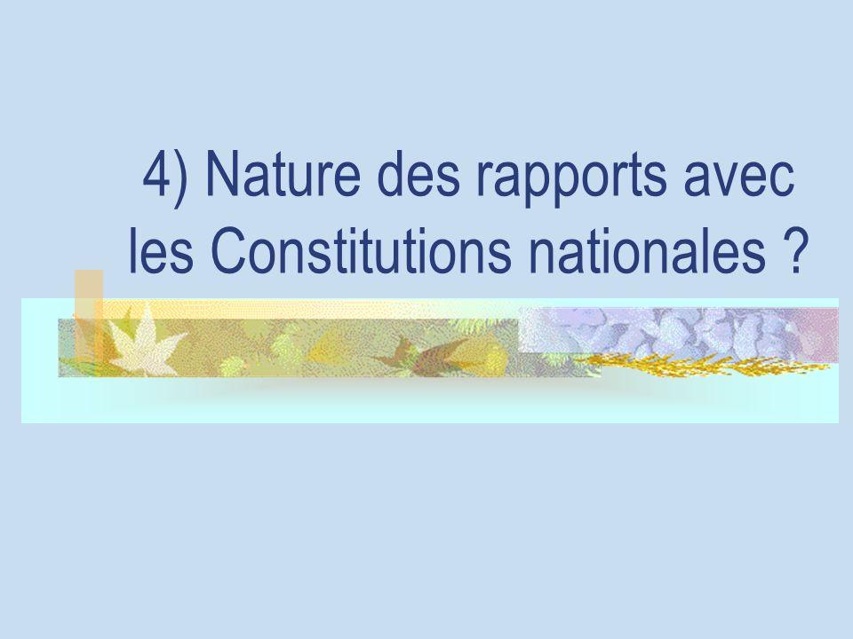 4) Nature des rapports avec les Constitutions nationales