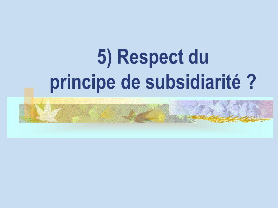 5) Respect du principe de subsidiarité