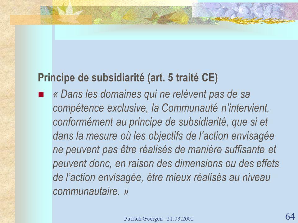 Principe de subsidiarité (art. 5 traité CE)