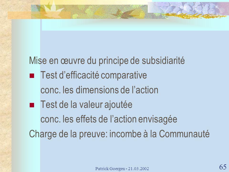 Mise en œuvre du principe de subsidiarité