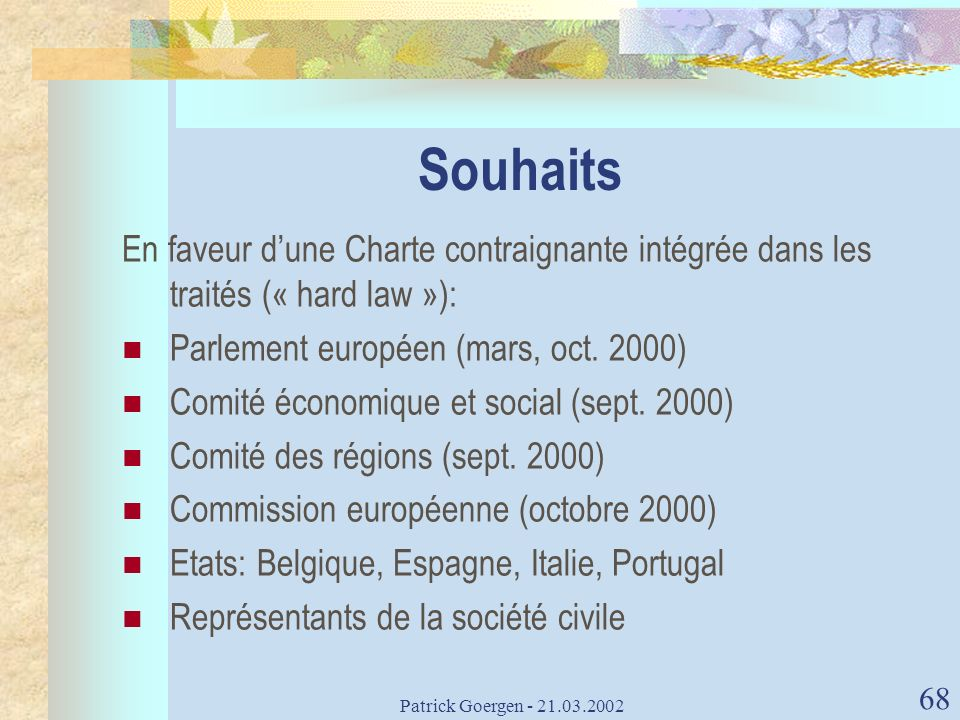 Souhaits En faveur d'une Charte contraignante intégrée dans les traités (« hard law »): Parlement européen (mars, oct. 2000)