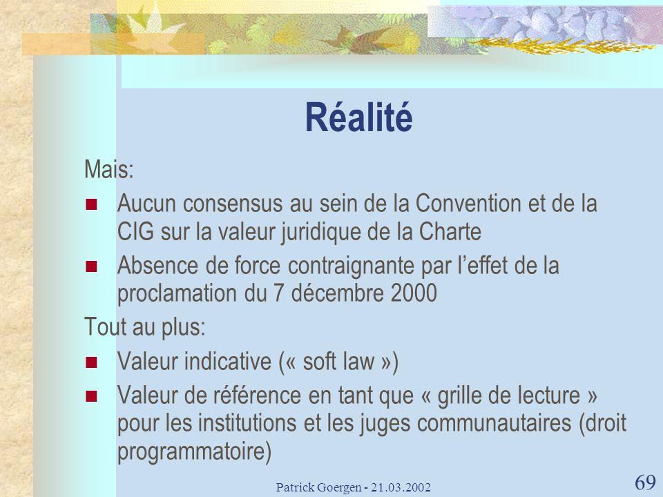 Réalité Mais: Aucun consensus au sein de la Convention et de la CIG sur la valeur juridique de la Charte.