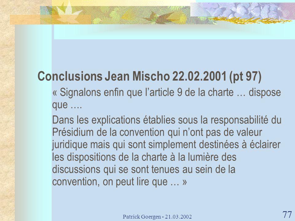 Conclusions Jean Mischo 22.02.2001 (pt 97)
