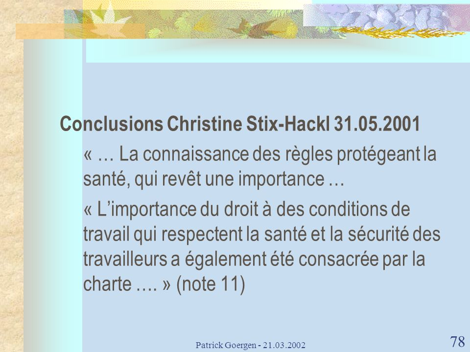 Conclusions Christine Stix-Hackl 31.05.2001