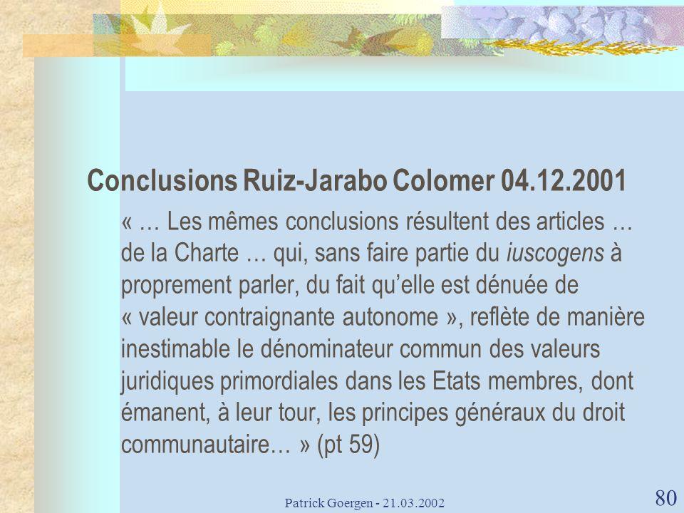 Conclusions Ruiz-Jarabo Colomer 04.12.2001