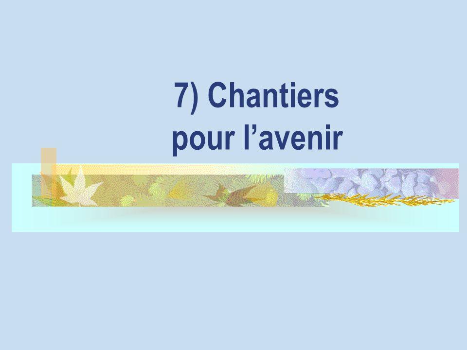 7) Chantiers pour l'avenir