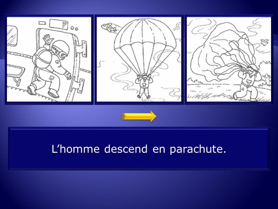 L'homme descend en parachute.
