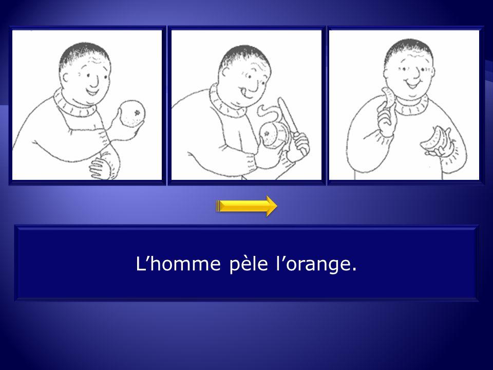 7.2 L'homme pèle l'orange.