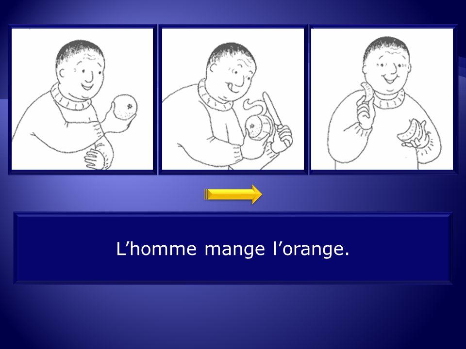 L'homme mange l'orange.