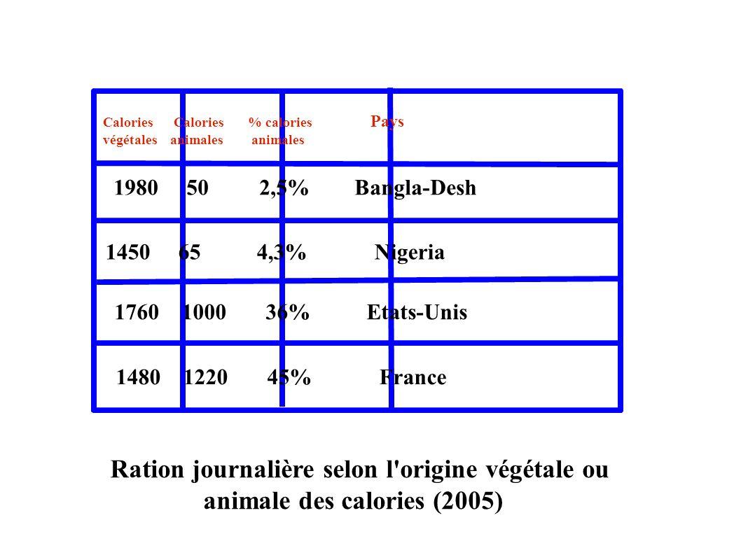 Ration journalière selon l origine végétale ou