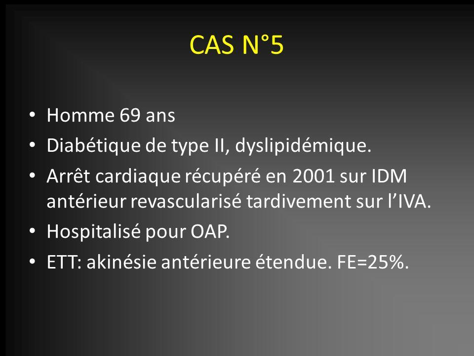CAS N°5 Homme 69 ans Diabétique de type II, dyslipidémique.