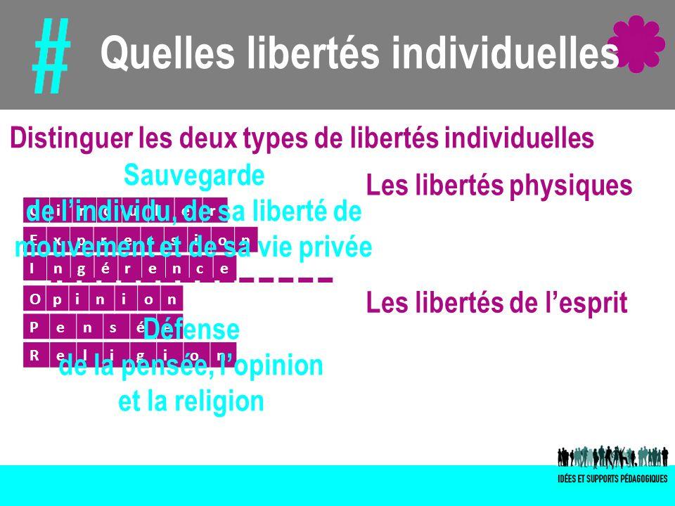 Quelles libertés individuelles