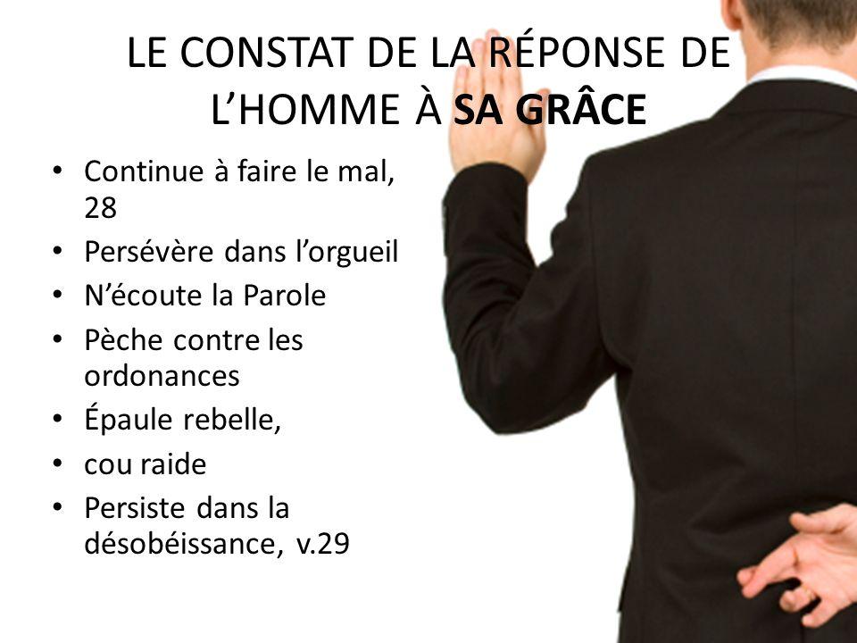 LE CONSTAT DE LA RÉPONSE DE L'HOMME À SA GRÂCE
