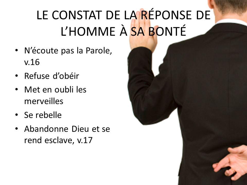 LE CONSTAT DE LA RÉPONSE DE L'HOMME À SA BONTÉ