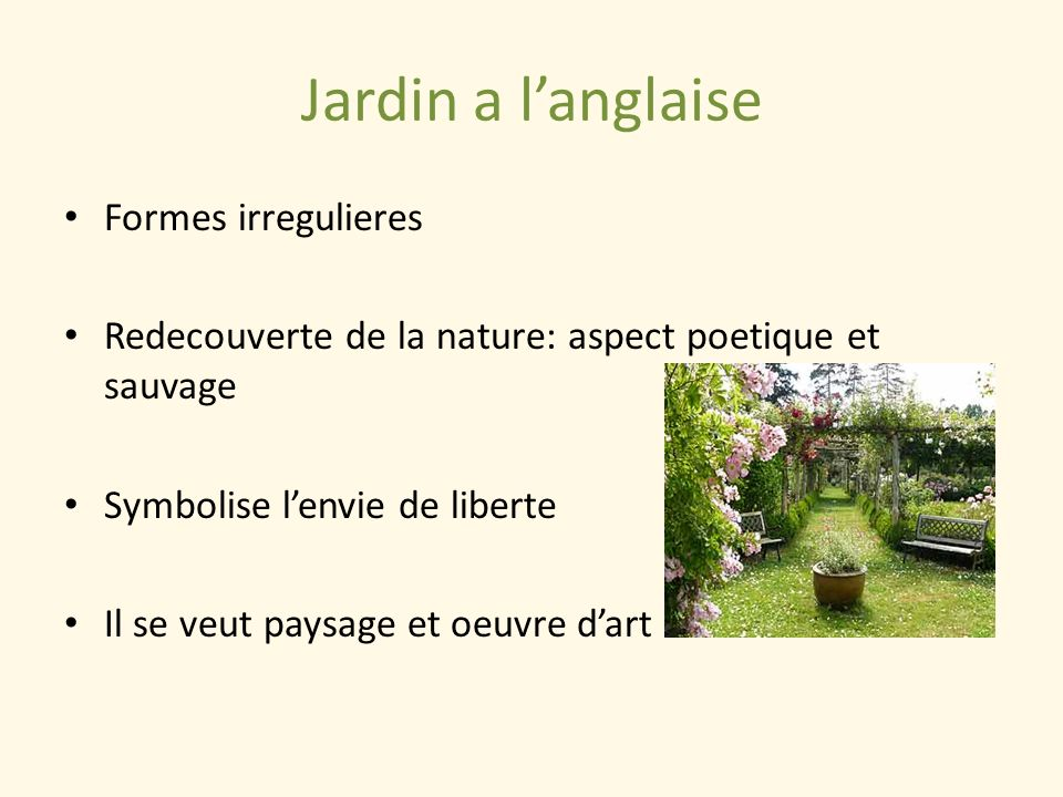 Jardin a l'anglaise Formes irregulieres