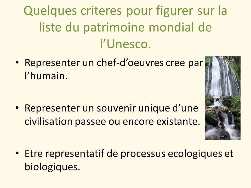 Quelques criteres pour figurer sur la liste du patrimoine mondial de l'Unesco.