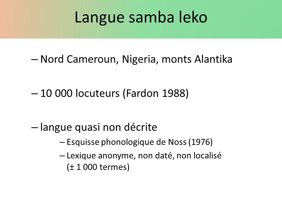 Langue samba leko Nord Cameroun, Nigeria, monts Alantika