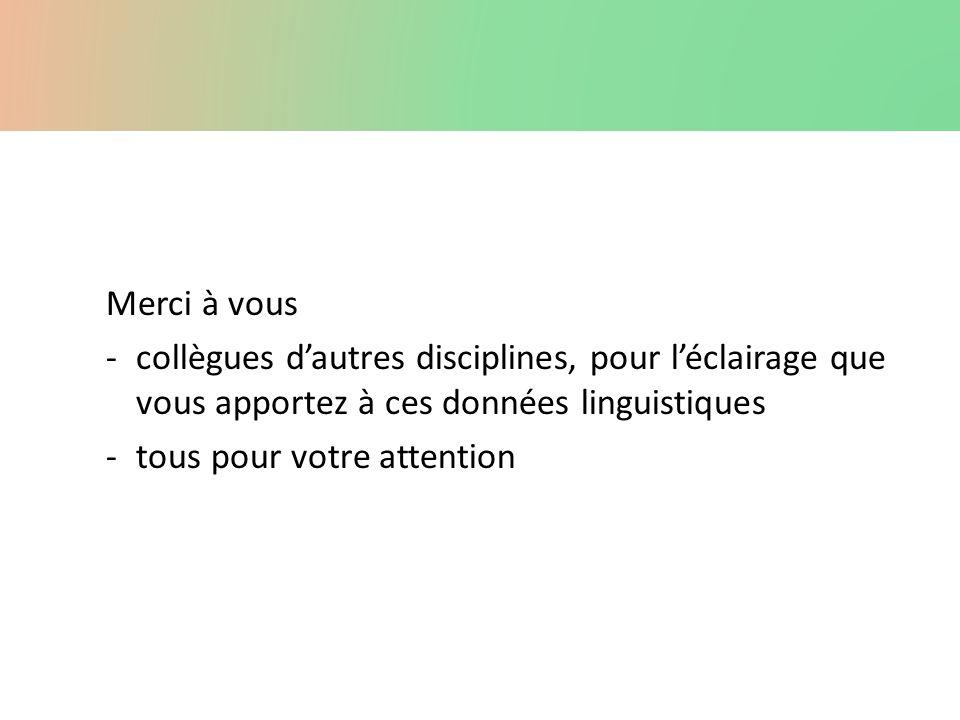 Merci à vous collègues d'autres disciplines, pour l'éclairage que vous apportez à ces données linguistiques.