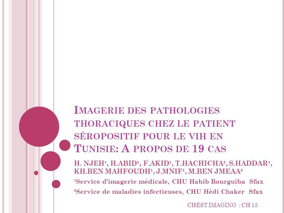 Imagerie des pathologies thoraciques chez le patient séropositif pour le vih en Tunisie: A propos de 19 cas