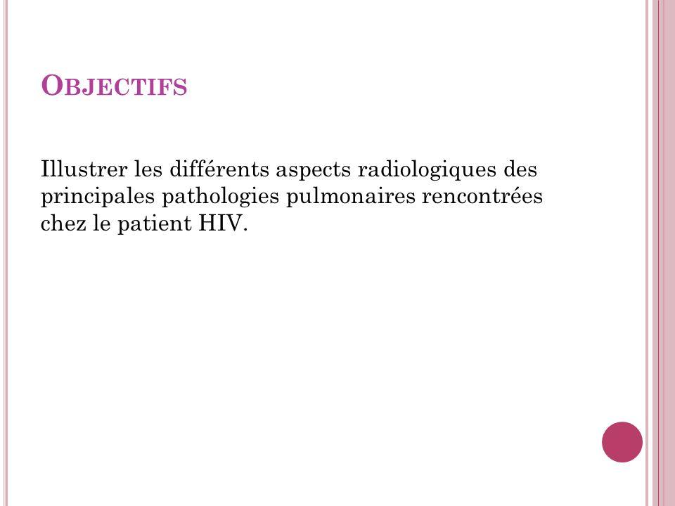 Objectifs Illustrer les différents aspects radiologiques des principales pathologies pulmonaires rencontrées chez le patient HIV.