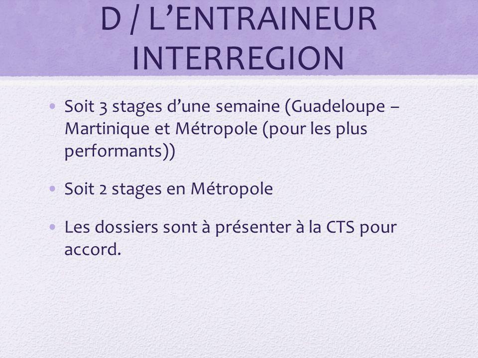D / L'ENTRAINEUR INTERREGION