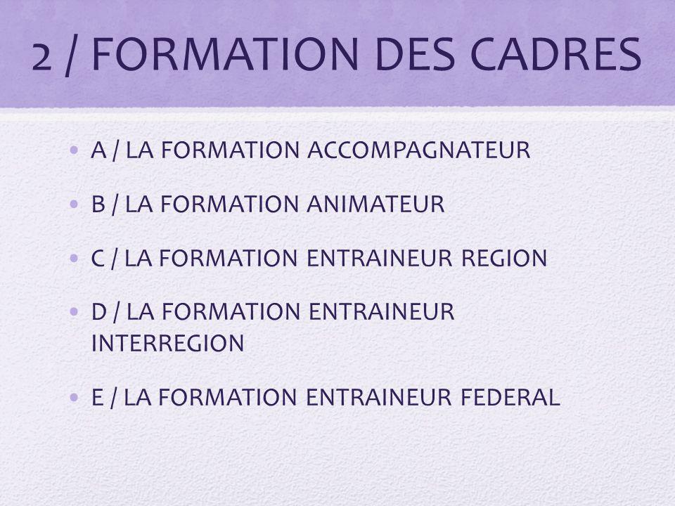 2 / FORMATION DES CADRES A / LA FORMATION ACCOMPAGNATEUR